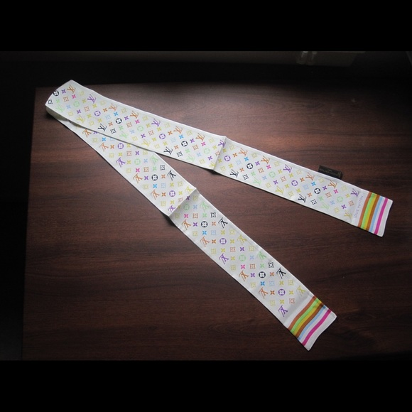 Louis Vuitton Accessories - Louis Vuitton White Silk Twilly Skinny Scarf Tie